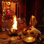 For eight years it has been my privilege to sit with Babuji Maharaj for all or part of the all-night Kali puja that occurs in October-November. The temple, part of the family home, is on the steps to the Ganga at Dashashwamedha Ghat in Banares.