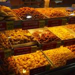 Larger sweet shops may include a section devoted to fried salty snacks, or namkeens. This multi-storied sweet shop is in Pune, in Maharashtra state. Sweets pair well with namkeens, especially with a nice cup of chai.